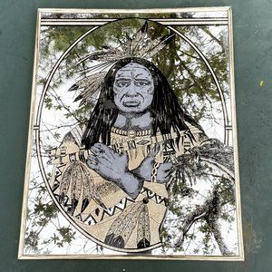 Vintage MCM Indian Tribal Mirror Art